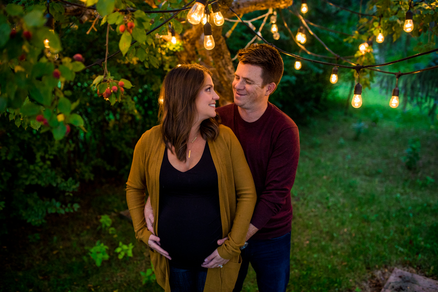 cute couple getting maternity photos in edmonton