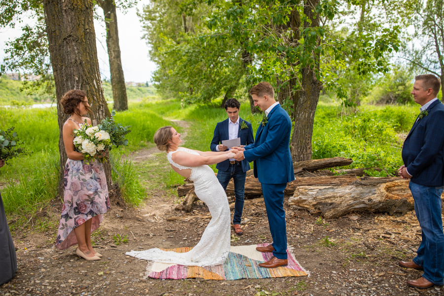 Bride and groom say I do for fish creek wedding