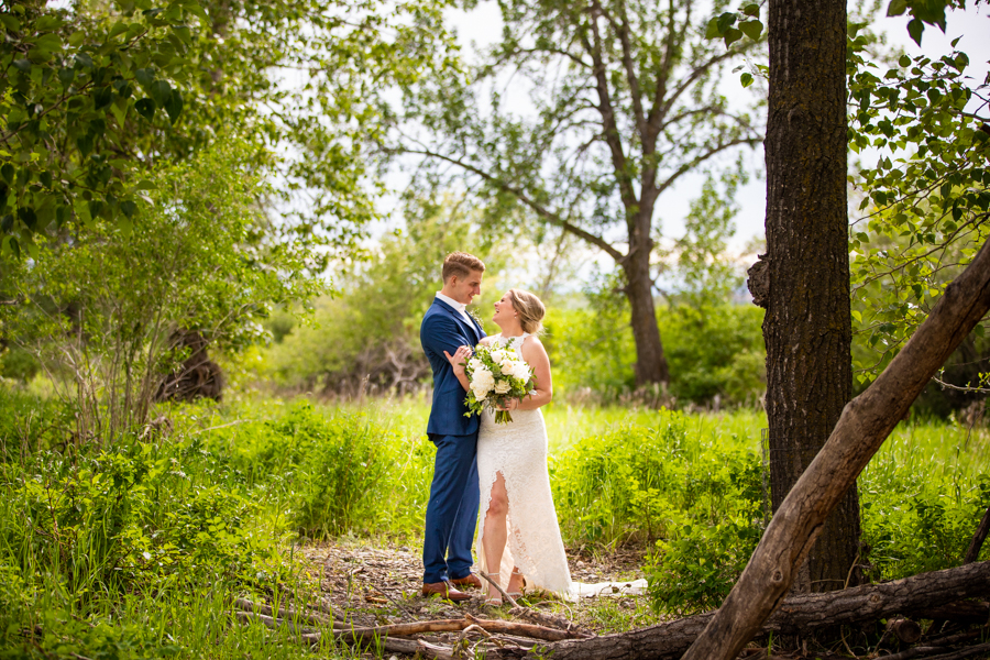 couple in Fish creek park wedding elopement, Calgary wedding photographer