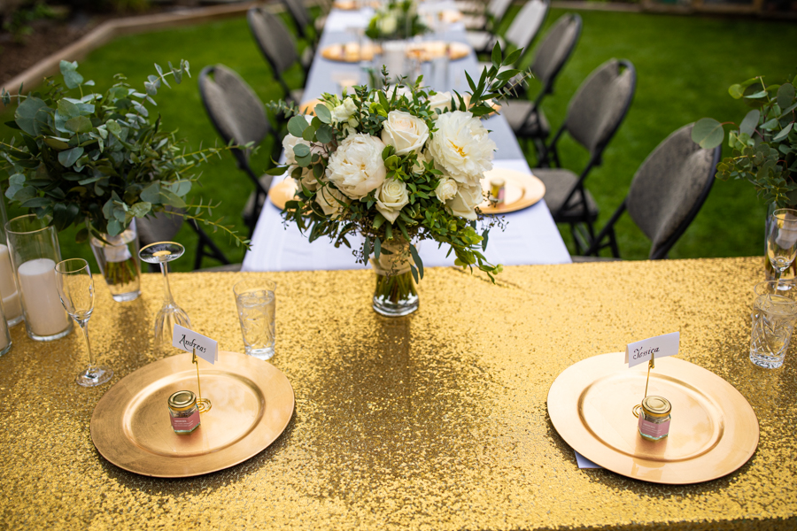 flowers and details at back yard wedding