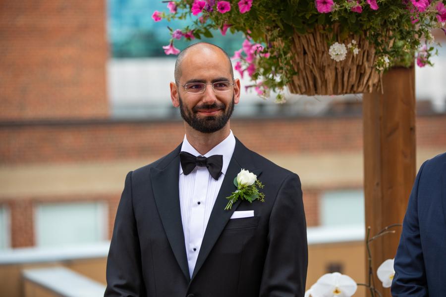 groom sees bride in edmonton elopement