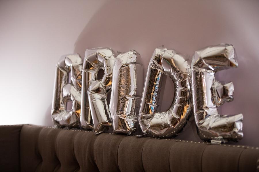 balloons spelling bride