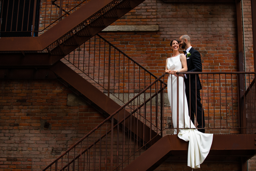 Edmonton rooftop elopement with a bride and groom