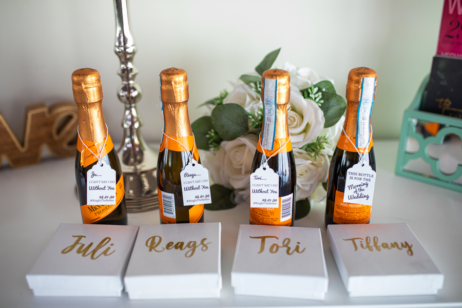 bridesmaids gifts and champagne
