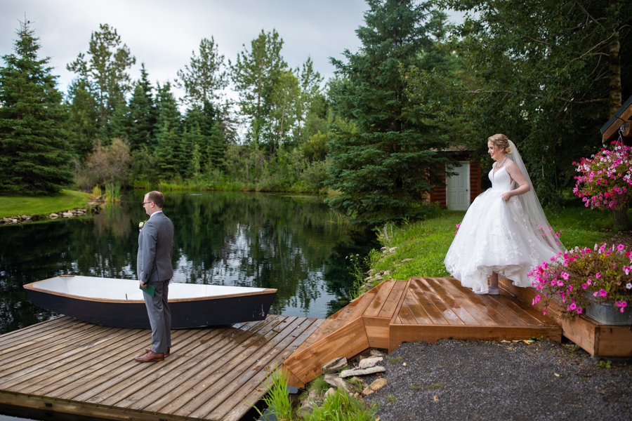 first look on pine and pond wedding dock