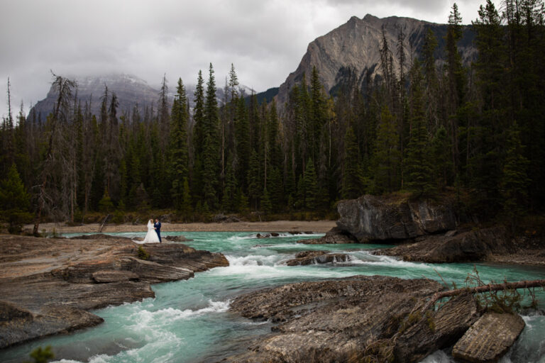 River Side cabin in golden bc and wedding at emerald lake