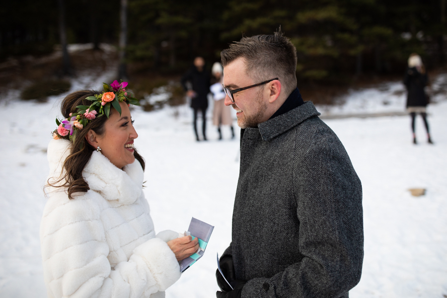 couple getting married at Lake minnewanka picnic site