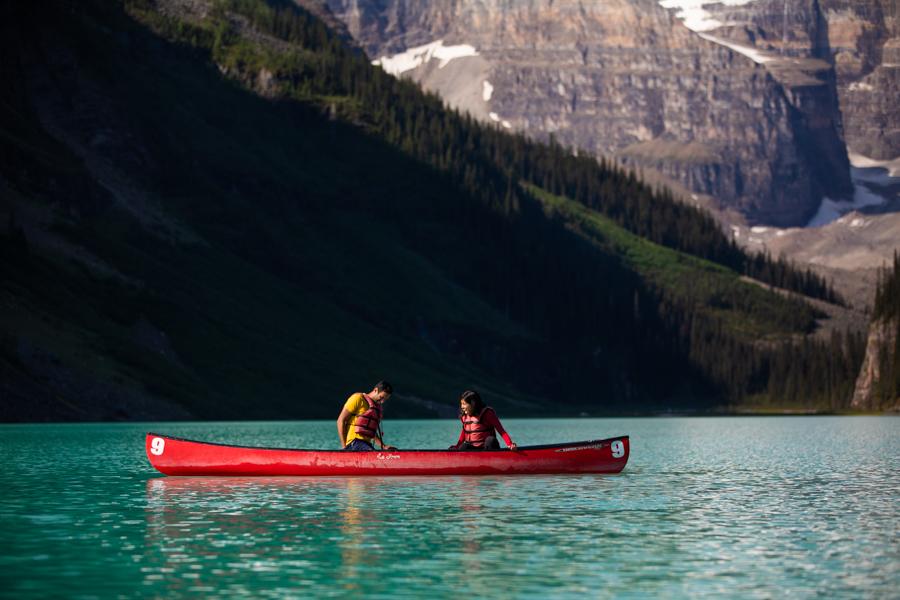 Lake Louise Canoe couple proposing