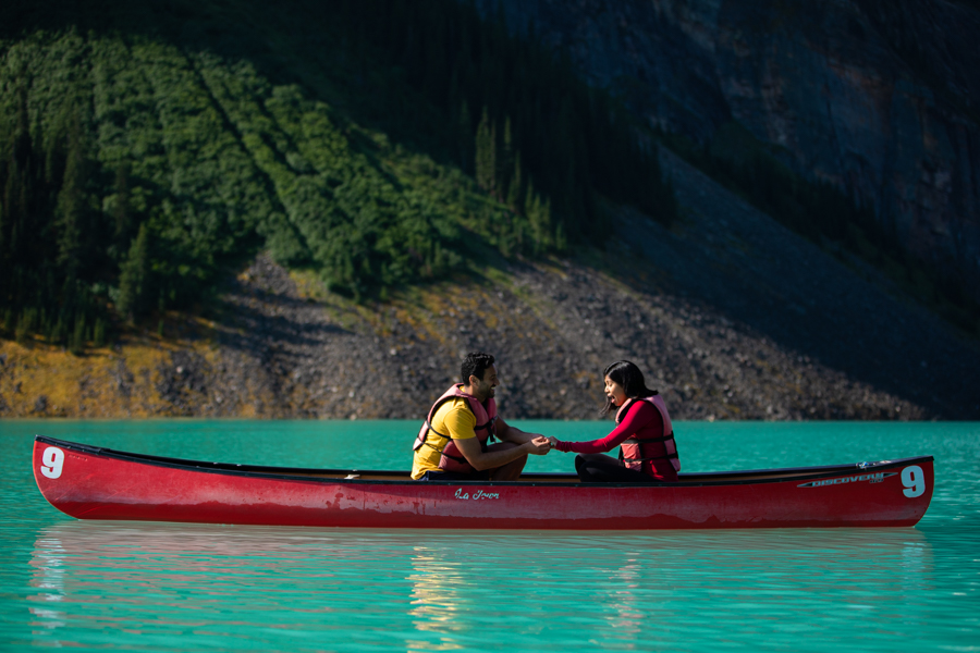 girl saying yes to a proposal in Lake Louise
