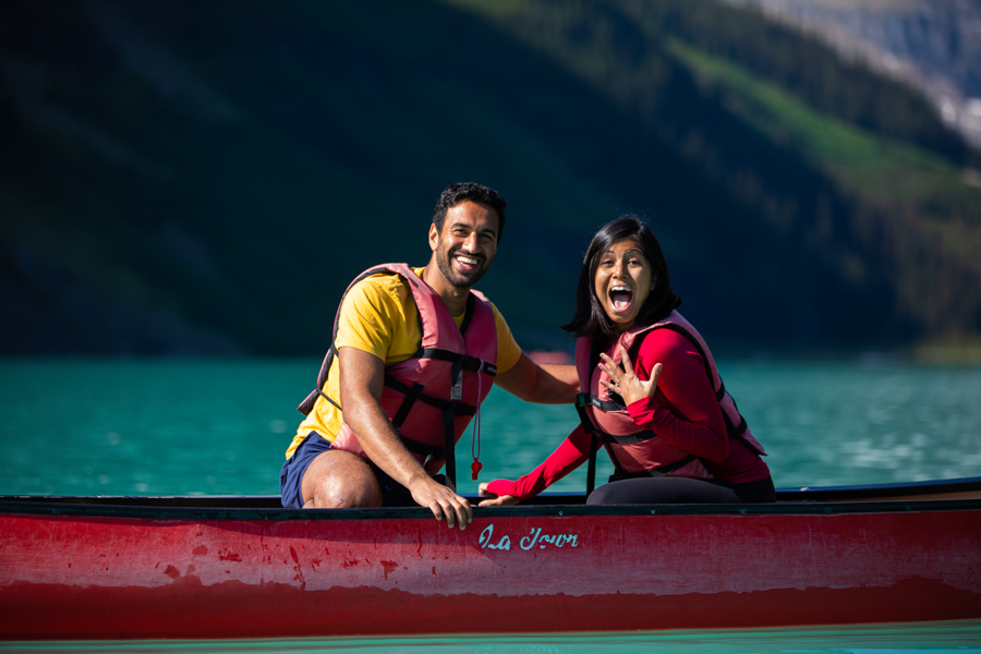 proposal on Lake Louise in a canoe