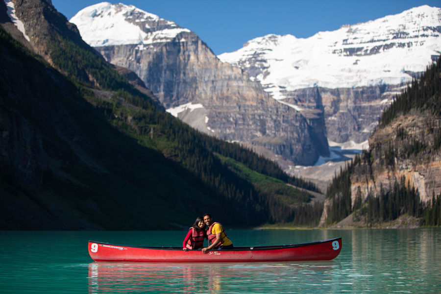 Lake Louise Canoe proposal and she said yes