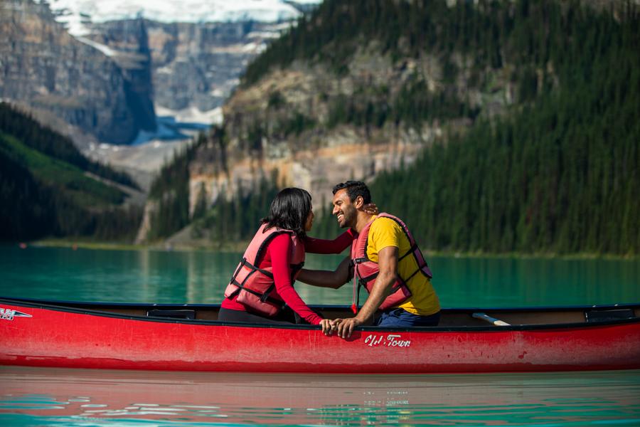 Lake Louise blue lake outside banff Alberta canoe
