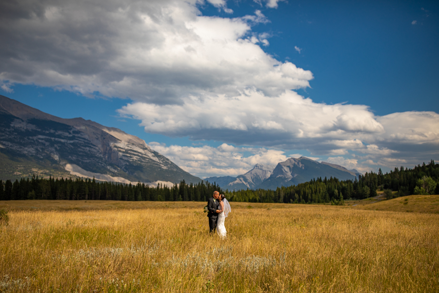 bride and groom in Canmore elopement