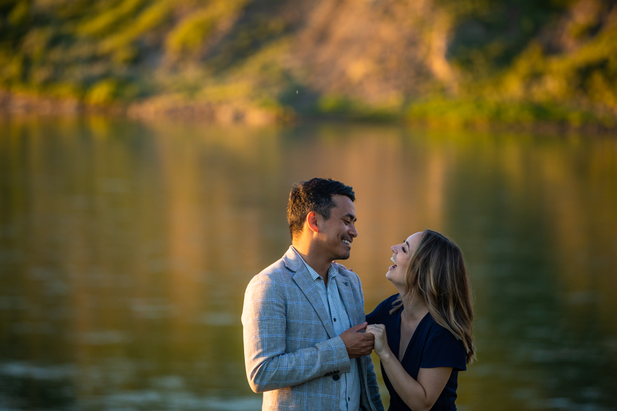 engagement photos along the river in Edmonton