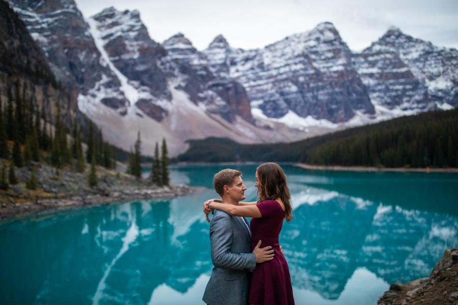 Lake Moraine Engagement Photos inside Banff Canada