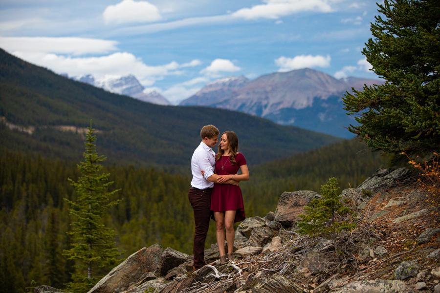 Lake Moraine Engagement Photos Banff Canada