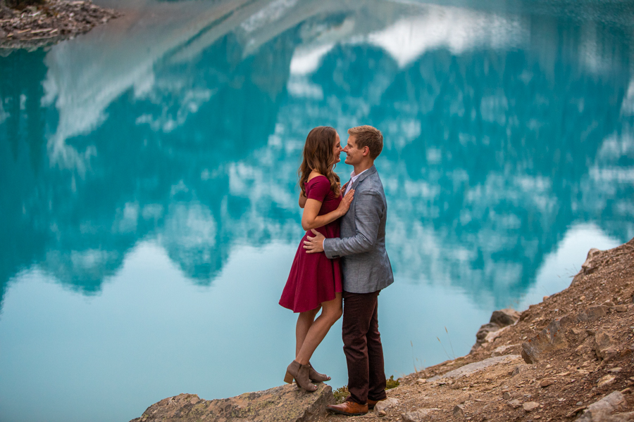mountain reflection Lake Moraine Engagement Photos