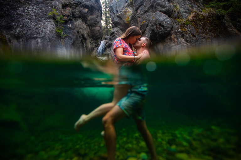 waterfall engagement photos kananaskis